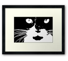 Cat Print/My Patch Abstract Graphic Cat Print Black and White - Jenny Meehan Design Framed Print