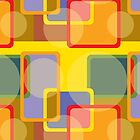 Colorful Abstract Geometric Shapes Retro Pattern by artonwear