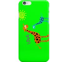 colorful Giraffe family w/ love (sticker & iPhone/iPod case) iPhone Case/Skin
