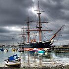 HMS Warrior in a storm by Simon Evans