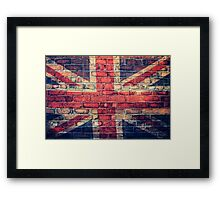 Union jack brick wall Framed Print