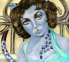 Cat on a Hot Tin Roof Blue by Alma Lee