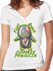 Zombie Penguin Women's Fitted V-Neck T-Shirt