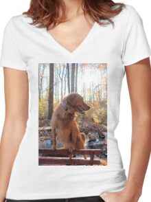 Flora- Pet ME! Women's Fitted V-Neck T-Shirt