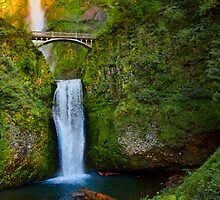 Last light- Multnomah Falls by Chris Perry