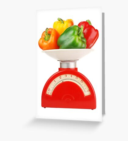 peppers on scale Greeting Card