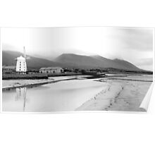 Windmill and Reflection B&W - Dingle Peninsula and Mountains Poster