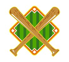 Baseball Diamond Crossed Bat Retro by patrimonio