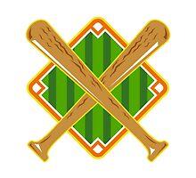 Baseball Diamond Crossed Bat Retro by patrimonio