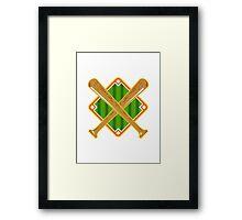 Baseball Diamond Crossed Bat Retro Framed Print