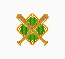 Baseball Diamond Crossed Bat Retro Unisex T-Shirt