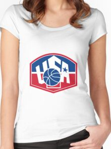 United States USA American Basketball Ball Shield Women's Fitted Scoop T-Shirt