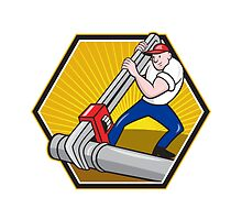 Plumber Worker With Adjustable Wrench Cartoon by patrimonio