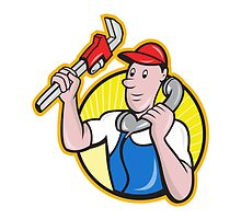 Plumber Worker With Adjustable Wrench Phone by patrimonio