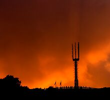 Tower silhouetted by AndreCosto