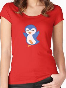 Happy Feet Dancing Penguin Women's Fitted Scoop T-Shirt