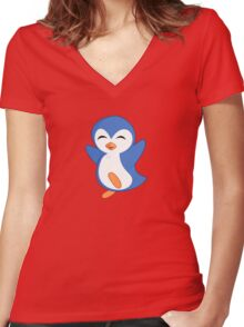 Happy Feet Dancing Penguin Women's Fitted V-Neck T-Shirt