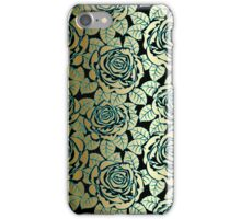 Black Gold And Blue Tones Seamless Abstract Roses Pattern iPhone Case/Skin