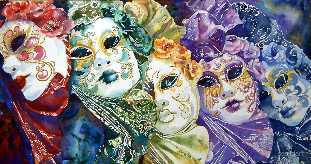 Rainbow masks  by scallyart