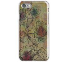 Brown And Beige Rustic Retro Flowers Design iPhone Case/Skin