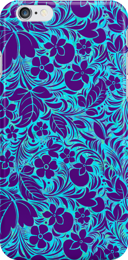 Purple And Blue Vintage Floral Ornate Damasks Pattern by artonwear