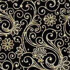 Elegant Black Gold And Diamonds Retro Floral DesignWith Bling by artonwear