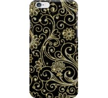 Elegant Black Gold And Diamonds Retro Floral DesignWith Bling iPhone Case/Skin