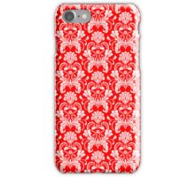 Red And White Ornate Floral Damasks Pattern iPhone Case/Skin