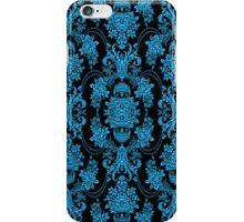 Black And Blue Ornate Vintage Baroque Floral Pattern iPhone Case/Skin