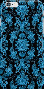 Black And Blue Ornate Vintage Baroque Floral Pattern by artonwear