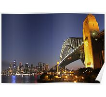 Sydney Harbour Bridge and city skyline at dusk Poster