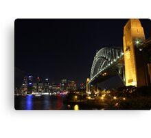 Sydney Harbour Bridge and city skyline at night Canvas Print