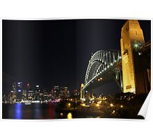 Sydney Harbour Bridge and city skyline at night Poster