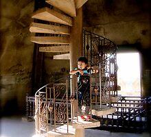 Girl on Stairs - Patuxai - Victory Gate by scott boylen