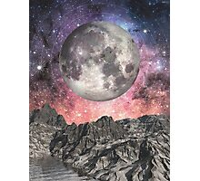 Moon Over Mountain Lake Photographic Print