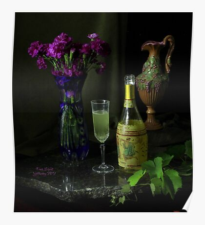 Bubbly and Grape Leaves Poster