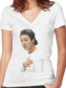 Jimin BTS Women's Fitted V-Neck T-Shirt