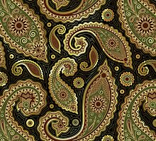 Pastel Brown Tones Vintage Paisley With Touch Of Gold by artonwear
