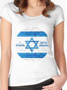I Stand With Israel Round Logo Women's Fitted Scoop T-Shirt