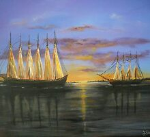 Two Schooners at Sunset, Old Norfolk, Virginia 1925 by Jsimone