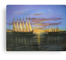 Two Schooners at Sunset, Old Norfolk, Virginia 1925 Canvas Print