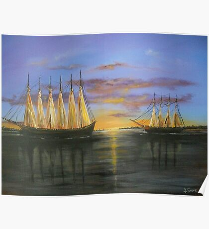 Two Schooners at Sunset, Old Norfolk, Virginia 1925 Poster
