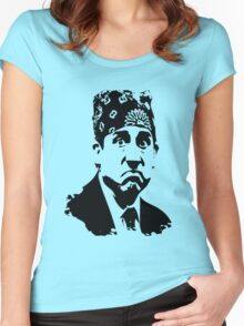 The Office Prison Mike -  Steve Carrell Women's Fitted Scoop T-Shirt