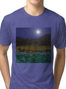 Full Moon Over A Rocky Shore. Tri-blend T-Shirt