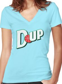 """Vict """"D-up Basketball""""  Women's Fitted V-Neck T-Shirt"""
