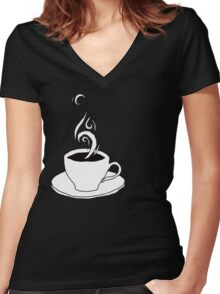 coffee scribble Women's Fitted V-Neck T-Shirt