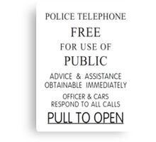 Police Telephone Box Canvas Print