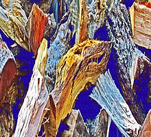 Wood Pile in Blue by noriesworld