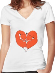 Foxes Mate for Life Women's Fitted V-Neck T-Shirt