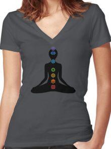 chakras Women's Fitted V-Neck T-Shirt